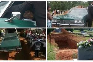 Bizarre! Elderly man buried in his beloved 1973 Pontiac car (photos, video)