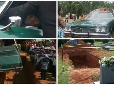 Bizarre! Elderly man buried in his beloved 1973 Pontiac car (photos, video)