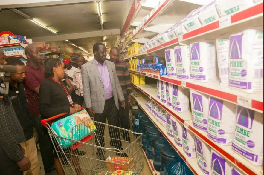 Raila's shopping trip ends in disappointment after missing Unga
