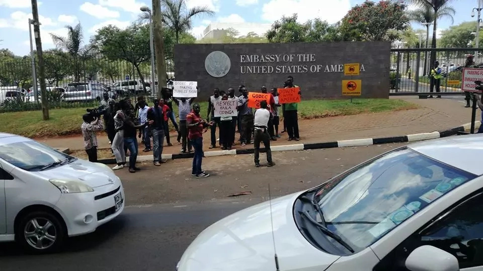 Kenyan opposition supporters stage demo at USA embassy