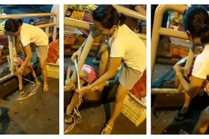 Monster! Police launches manhunt for woman who tied her son on railings to punish him (photos)
