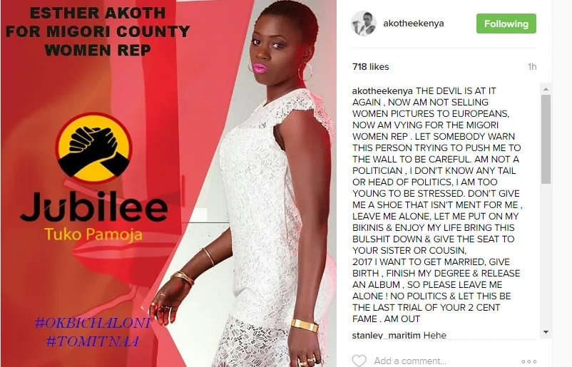 Akothee angered after being put on Jubilee poster