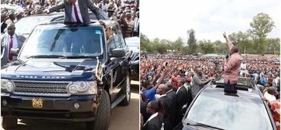 Uhuru lets school boy relax on his car roof (photos)