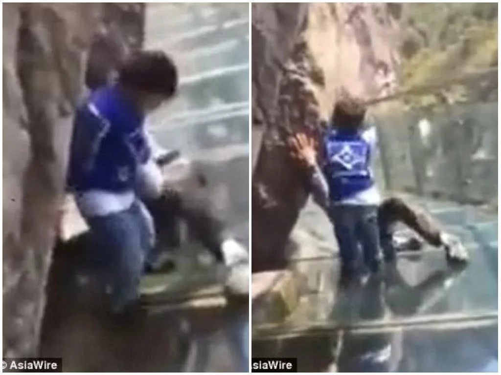 Toddler, 3, drags his petrified DAD across glass bridge after he refuses to move forward (photos)