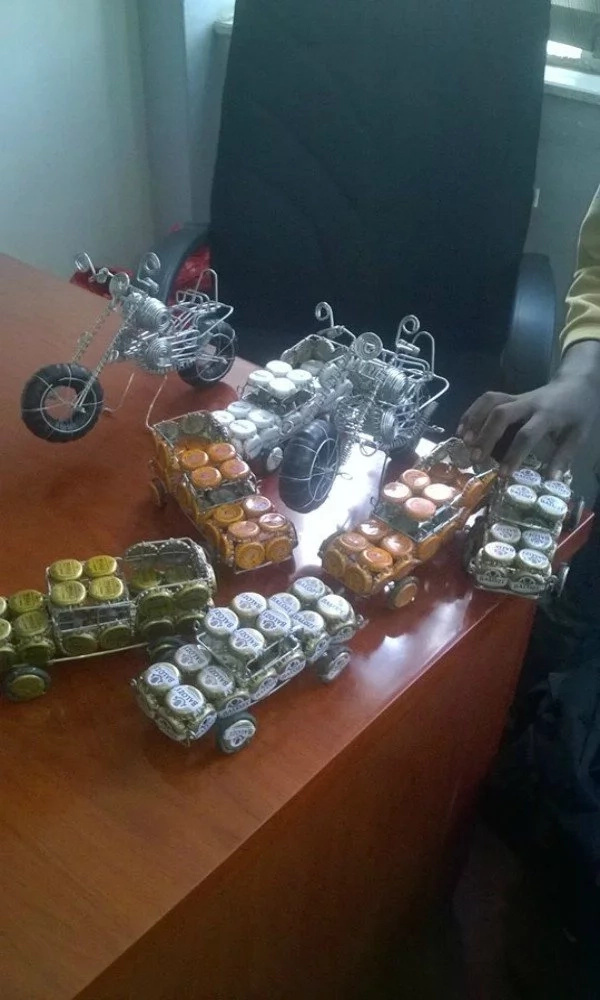 Meet the 14 year old Kenyan boy who makes toys using bottle tops and wires to pay school fees