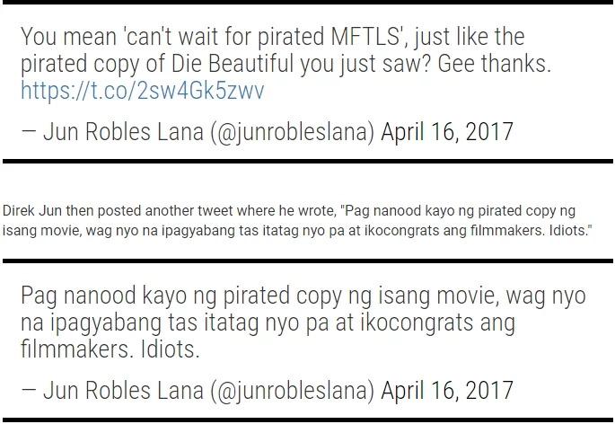 """Direk Jun Lana, tinawag na """"idiots"""" ang mga tumatangkilik sa piratang pelikula!"""