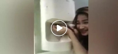 This Pinay made netizens laughed after using hand dryer in public restroom to fix wet hair