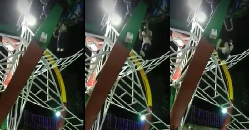 Are you into adrenaline rides? Look how this man fell from the amusement ride