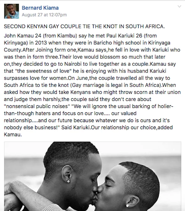 A screenshot of Bernard Kiama's Facebook post. Photo: Facebook/Bernard Kiama