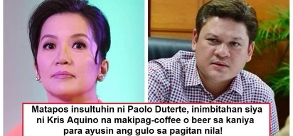 Paolo Duterte insults Kris Aquino on social media; Kris responds by inviting him to settle bad blood over coffee or beer