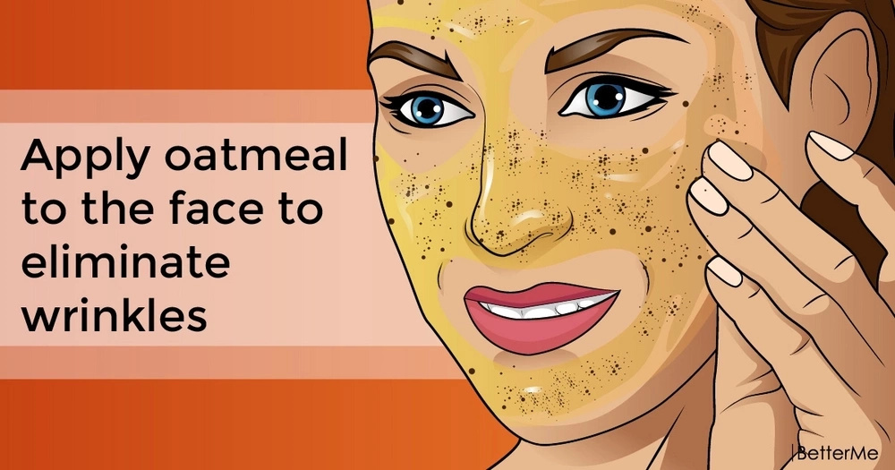 Apply oatmeal to the face to eliminate wrinkles