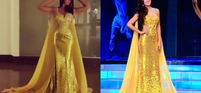 Wala ng crown, wala pang gown! Miss Earth Ecuador rocks gown made for Miss Earth Philippines