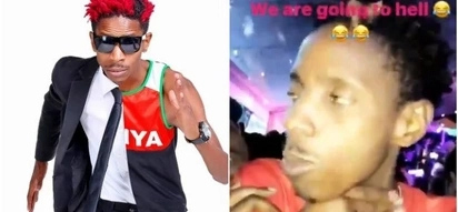 Photos of comedian Eric Omondi drunk like a Chang'aa brewer emerge