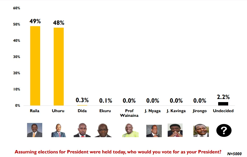 Uhuru would beat Raila in the polls but undecided voters are the deal breakers-poll