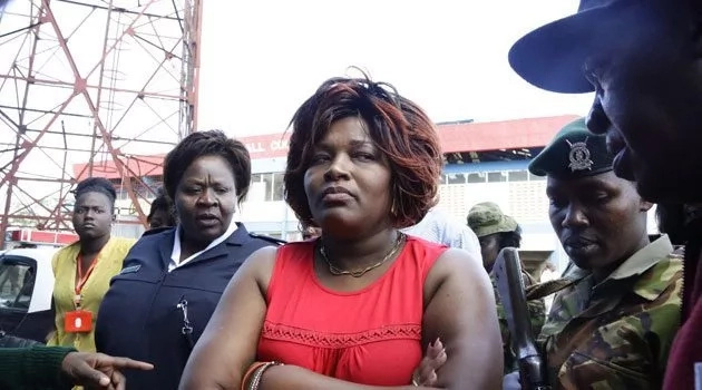 Nairobi Woman Rep Rachel Shebesh engages security agents during the controversial nominations