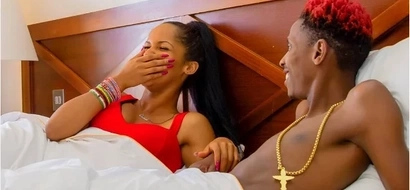 Was Eric Omondi's pretty girlfriend's top TOO big or her boobs are just SMALL? (photo)