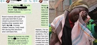 Wife desperately begs JKUAT student to leave her husband after infecting him (screenshots)