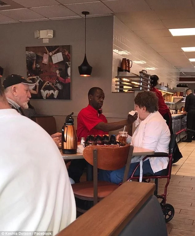 See how waiter feeds disabled customer then couple can enjoy their breakfast
