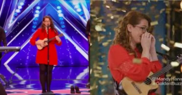 What do you think did Simon Cowell do in response to a singer who sang at America's Got Talent 2017 without wearing her shoes?