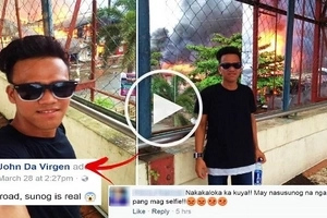 This Pinoy teen went viral after having his photos taken in front of burning houses in Butuan City! Some netizens are laughing but others are furious!