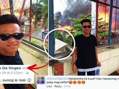 This Pinoy teen went viral after taking photos in front of burning houses in Butuan City! Some netizens are laughing but others are outraged!