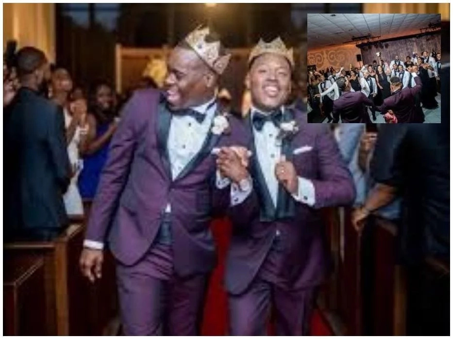 Fraternity brothers, who dated for 10 years, tie the knot to become husband and husband (photos)