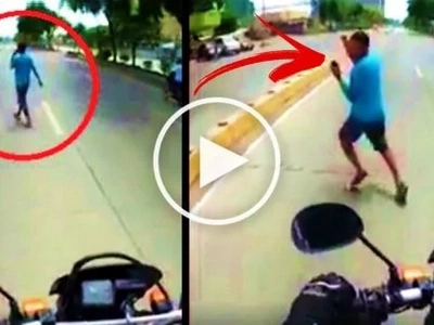 Watch this careless Pinoy pedestrian use his phone while crossing the road. What happened next was heart-stopping!