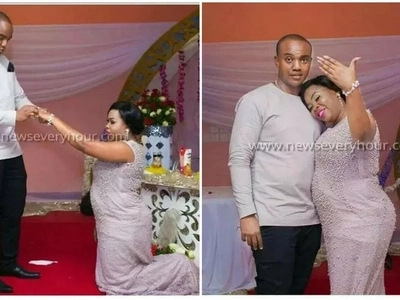 Reversed roles as woman kneels down for her man to propose to her (photos)