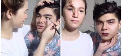 Ang tamis ha! Barbie Imperial does Paul Salas' make up and he's freaking out