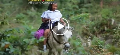Para makatapos! Pinoy kids risk riding a horse and crossing dangerous river to go to school