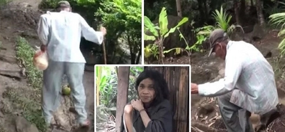 Para sa mga anak! Old man treks dangerous rocky path in the mountains to beg for food in town to feed 2 disabled daughters