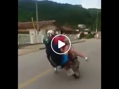 This duo tried to do motorcycle tricks but watch how they failed miserably