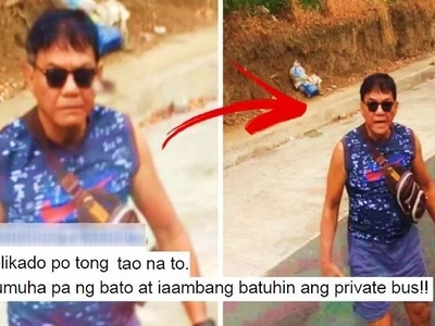 WATCH: This elderly Pinoy driver got really mad at a private bus driver in Laguna! Takot na takot ang mga pasehero!