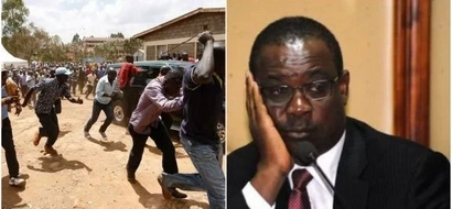 Kidero in LUCKY ESCAPE as youth pelt his vehicle with stones(photo)