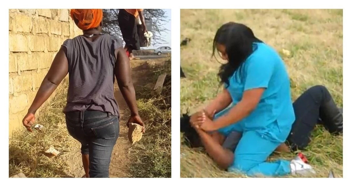 Two women engaged in a fierce cat fight in a Nairobi estate