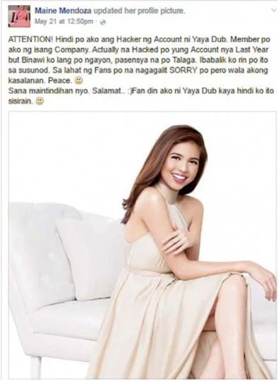 Maine Mendoza's FB hacked again?