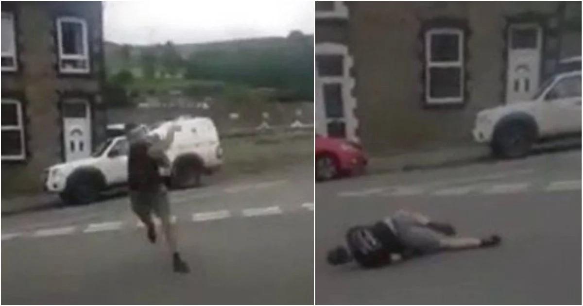 Man shadow-boxes himself, breaks own leg