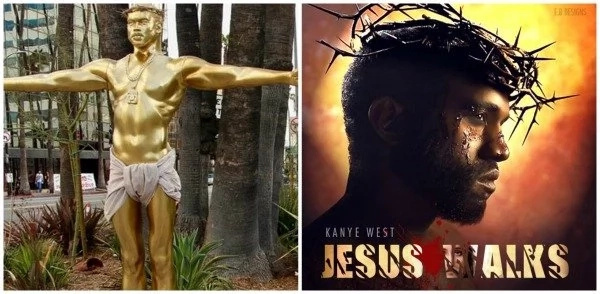 Blasphemy? See this statue of Kanye West as crucified Jesus (photo)