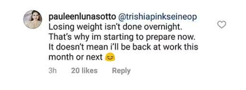 Supalpal! Pauleen Luna Sotto clarifies she is not losing weight because she wants to return to work immediately