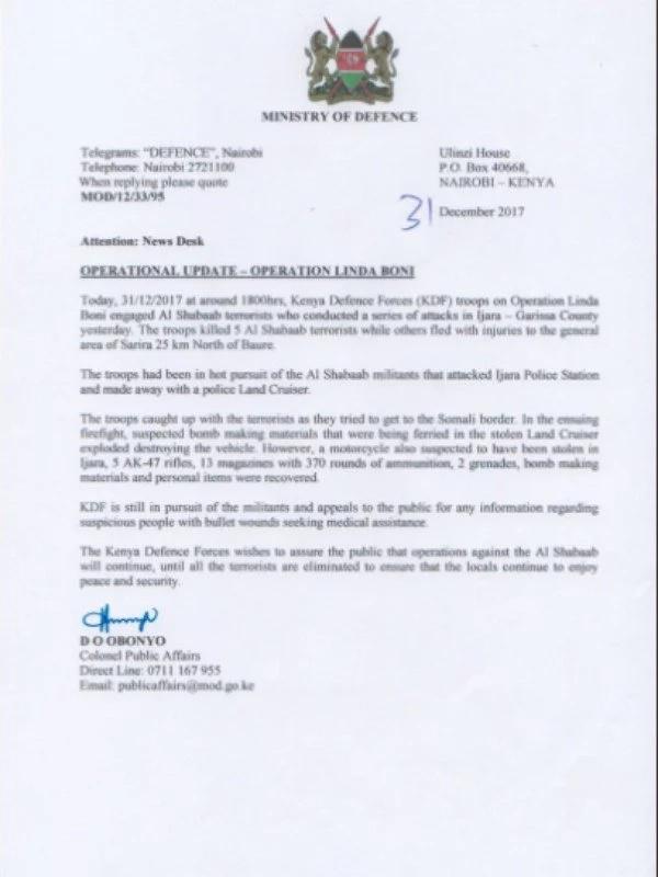 KDF kill 5 al-Shabaab militants who attacked Garissa police camp
