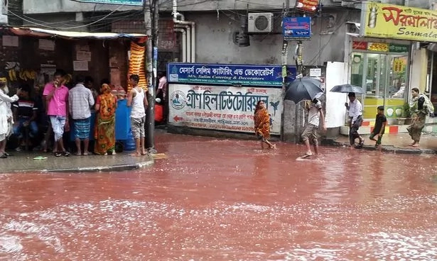 Rivers of blood flood the streets of Dhaka after ritual sacrifice