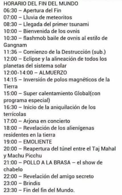 Agenda del Fin del Mundo, evite el aburrimiento del último día