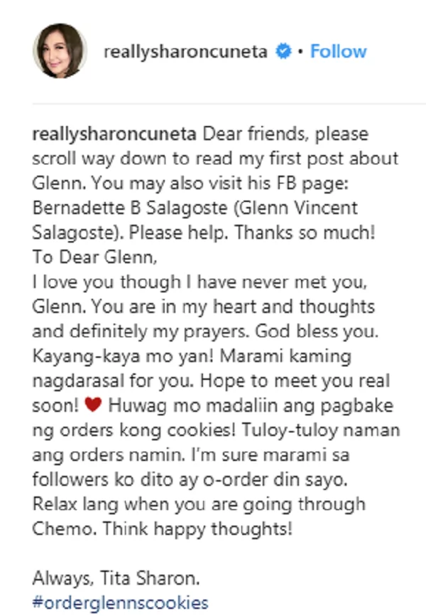 Napakabuti ng kanyang puso! Sharon Cuneta helps a kid with leukemia who sells cookies to finance his chemotherapy