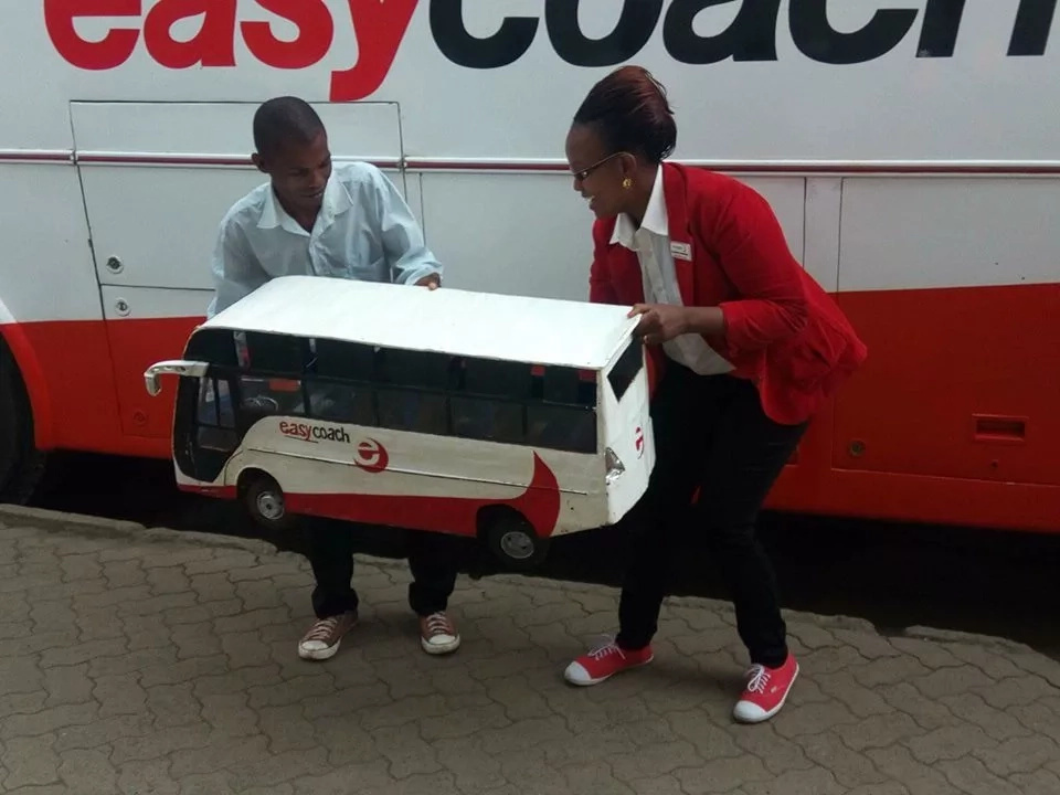 19 year-old-boy who stunned Kenyans with an exact replica of Easy Coach bus hire by the company