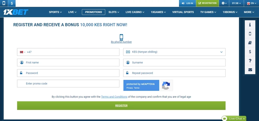 1xBet Kenya registration guide. How to create a new account in a couple of minutes