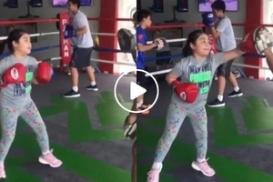 World champ in the making! Manny Pacquiao's daughter Queenie tries hardcore boxing