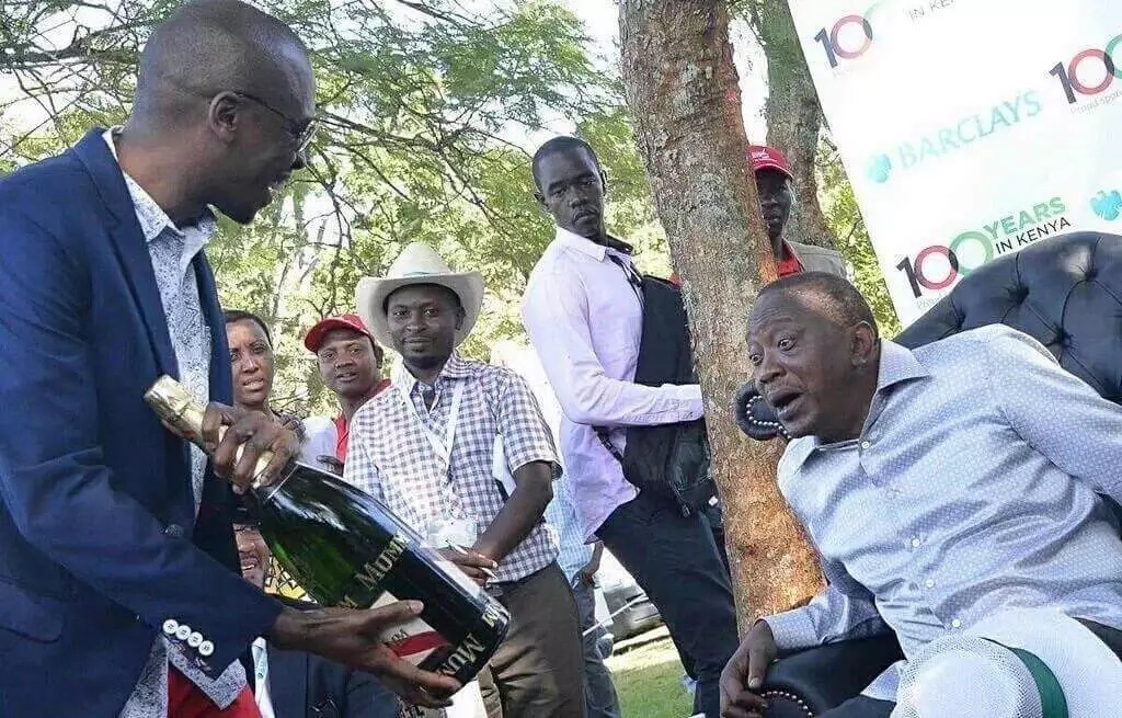 Photo: The champagne bottle that got Uhuru excited