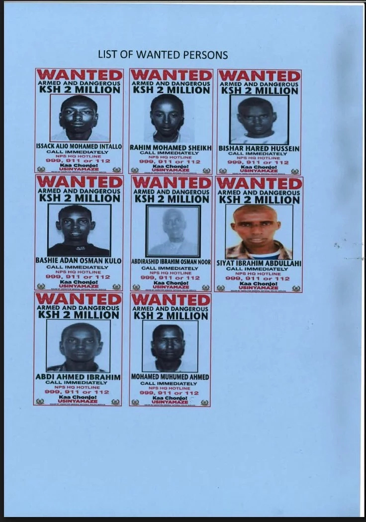 Photos of the most wanted terrorists.Photo:Kenya National Police Service.
