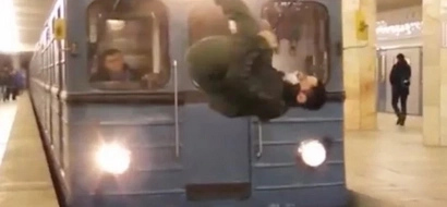 Fearless Russian Teen Does A Flip In Front Of A Speeding Train