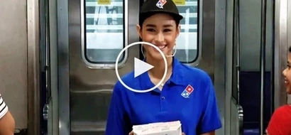 Liza Soberano spotted selling Domino's pizza at the LRT station